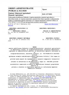 ORDIN ADMINISTRATIE PUBLICA 311/2020