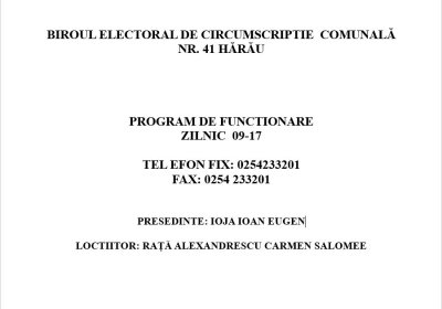 PROGRAM DE FUNCȚIONARE