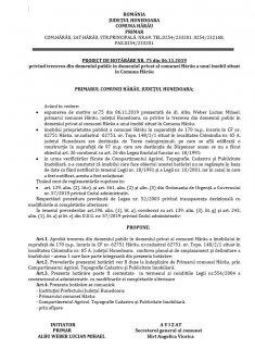 Proiect de Hotărâre Nr. 75 din 06.11.2019